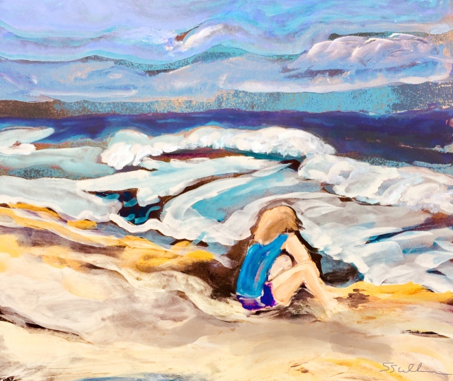 Sketch by Sarah Sullivan of a beach scene