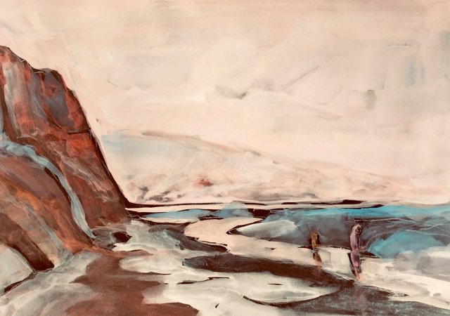 Sketch of Torrey Pines Beach by Sarah Sullivan