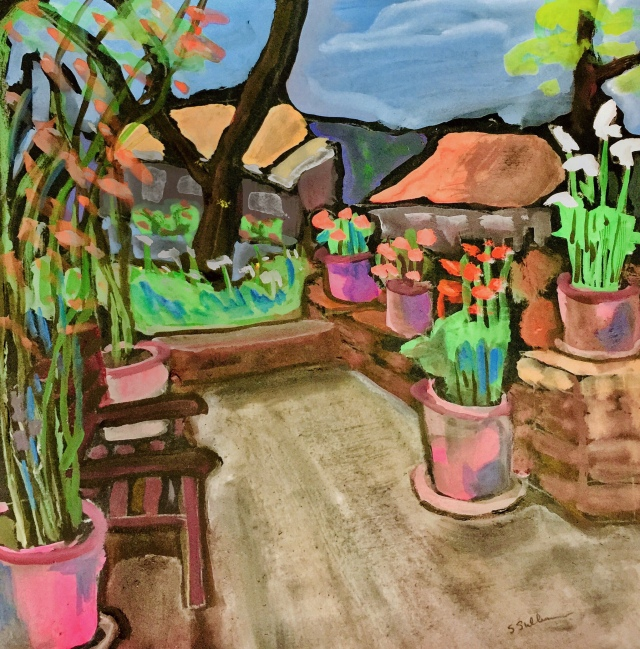 Sketch by Sarah Sullivan of potted plants