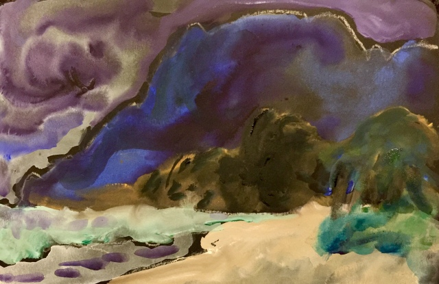 Sketch by Sarah Sullivan of a First Look at Waimanalo Beach