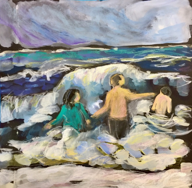 Sketch by Sarah Sullivan of people swimming in waves