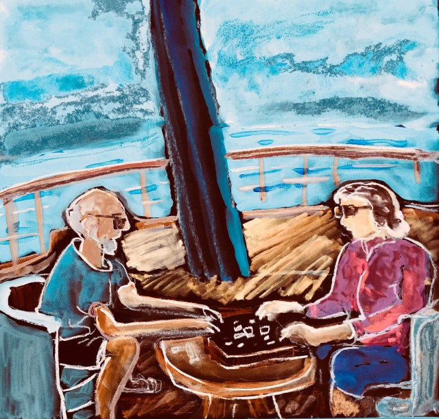 Sketch by Sarah Sullivan of Two People Playing Scrabble.