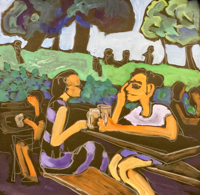 Sketch by Sarah Sullivan of a couple at a Beer Garden in Bonn