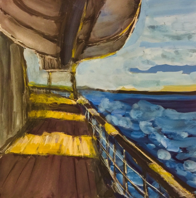 Sketch by Sarah Sullivan of a Lifeboat above the Deck of the Prinsendam