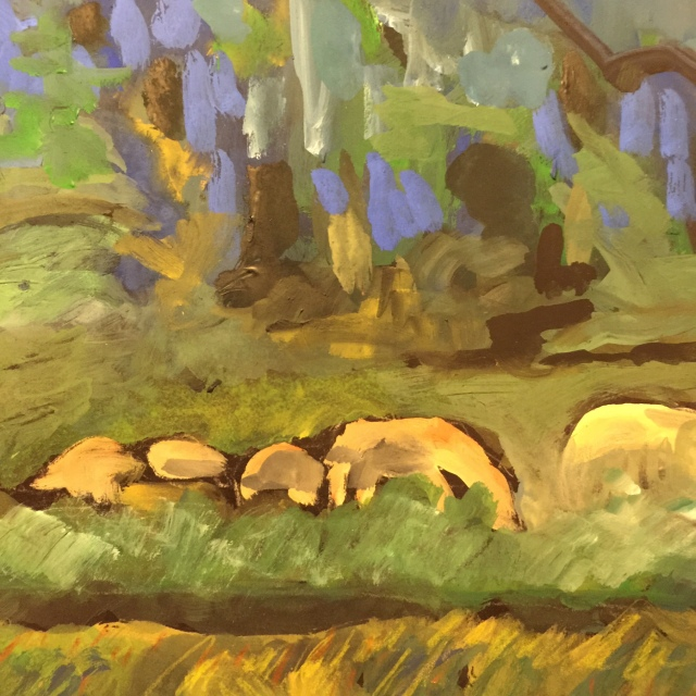 Sketch by Sarah Sullivan of German Sheep in a Field