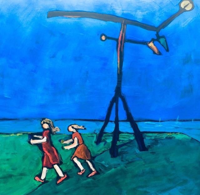 Sketch by Sarah Sullivan of children playing under a sculpture by Calder