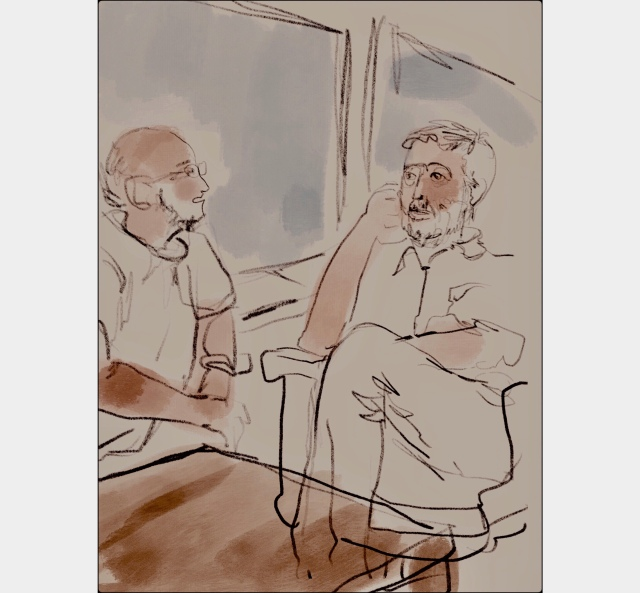Sketch by Sarah Sullivan of Two Old Friends Working Together