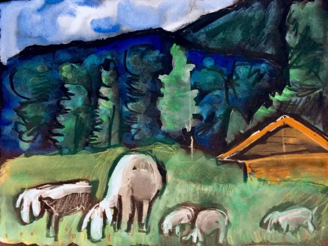 Sketch by Sarah Sullivan of Bavarian Sheep