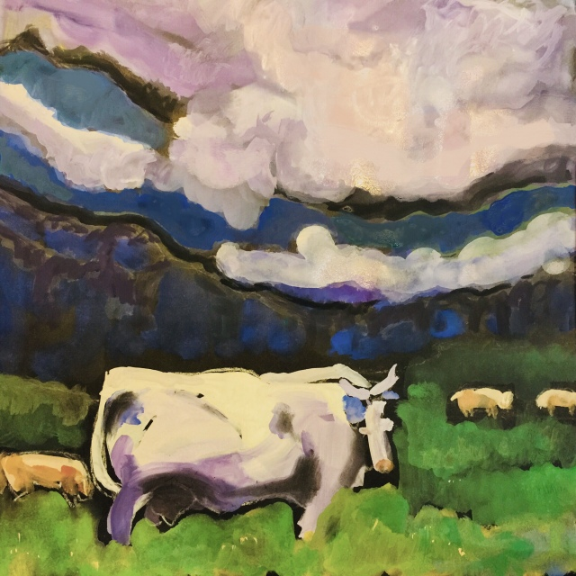 Sketch by Sarah Sullivan of cows in a field under a cloudy sky