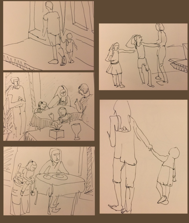 Ink sketches by Sarah Sullivan of Children in Guimarães Portugal
