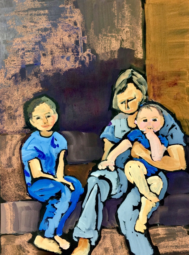 Sketch by Sarah Sullivan of a small family
