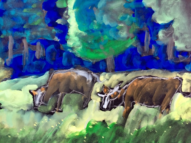 Sketch by Sarah Sullivan of Bavarian Cows