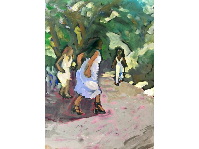 Sketch by Sarah Sullivan of Three Young Women Running up a Path