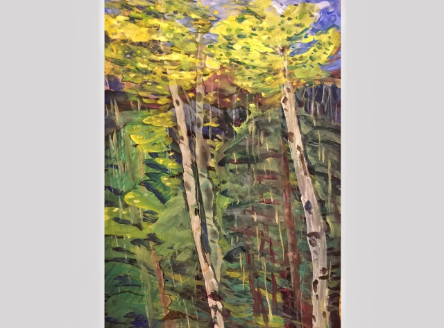 Sketch by Sarah Sullivan of Two Aspen Trees