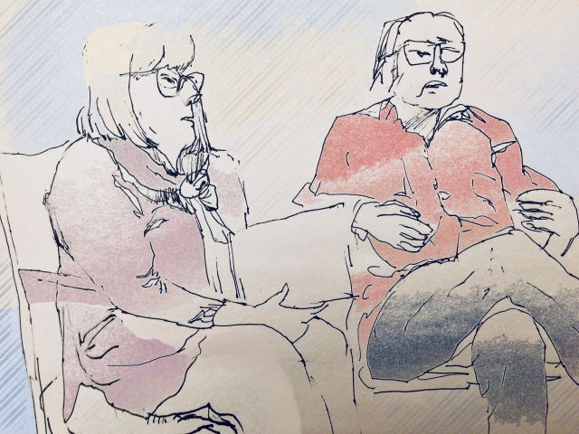 Sketch by Sarah Sullivan of two people having a conversation at the Telluride Town Talk