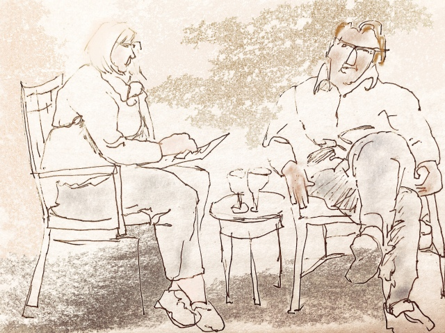 Sketch by Sarah Sullivan of two people having a conversation