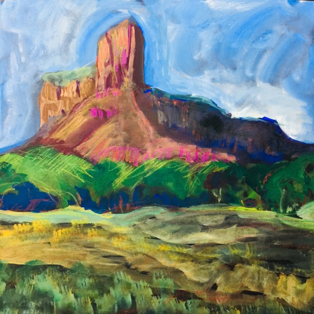 Sketch by Sarah Sullivan of the morning light on the mesa