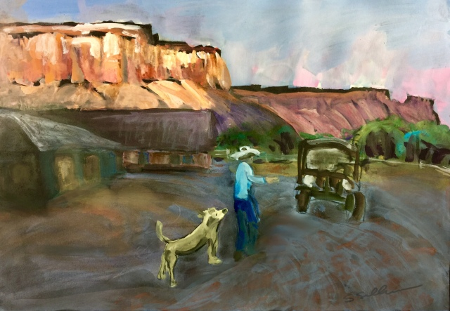 Sketch by Sarah Sullivan of a ranch on an early August morning