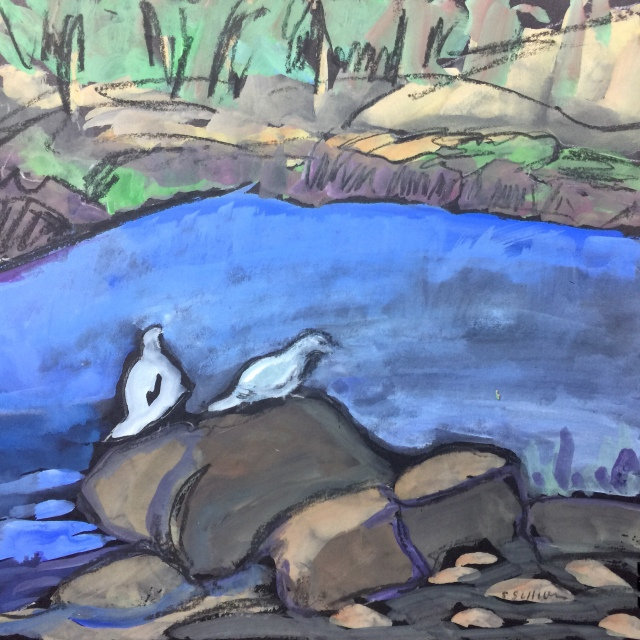 Sketch by Sarah Sullivan of Two Doves at a Lake