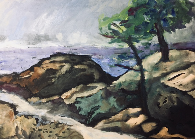 Sketch by Sarah Sullivan of a path at Torrey Pines