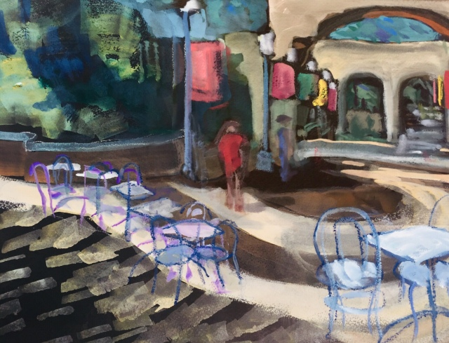 Sketch by Sarah Sullivan of a Courtyard at Balboa Park