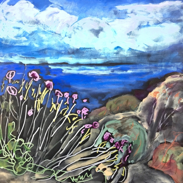 Sketch by Sarah Sullivan of some flowers at Torrey Pines State Park