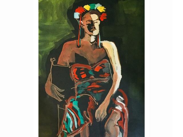 Sketch by Sarah Sullivan of a woman dresses as Frida Kahlo