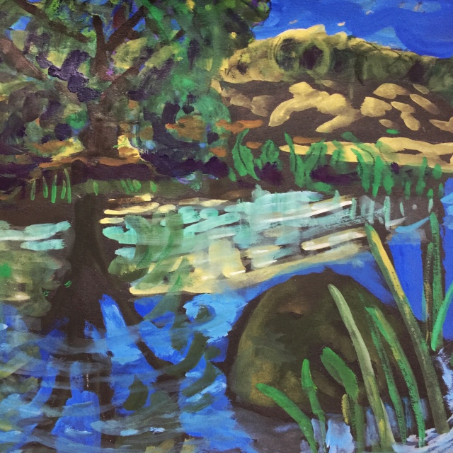 Sketch by Sarah Sullivan of a pond near Loomis California