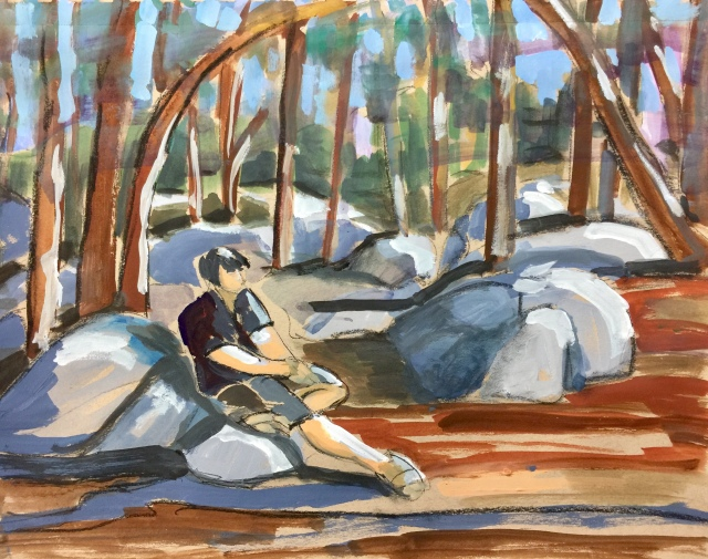 Sketch by Sarah Sullivan of a man sitting on On the Rocks at Yosemite