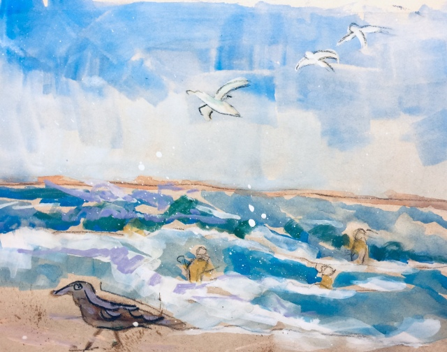 Sketch by Sarah Sullivan of Torrey Pines Beach