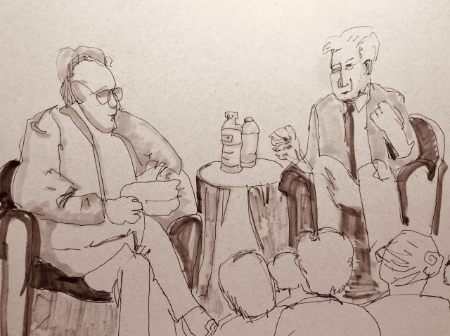 Sketches by Sarah Sullivan made while listening to a conversation with Daniel Ellsberg