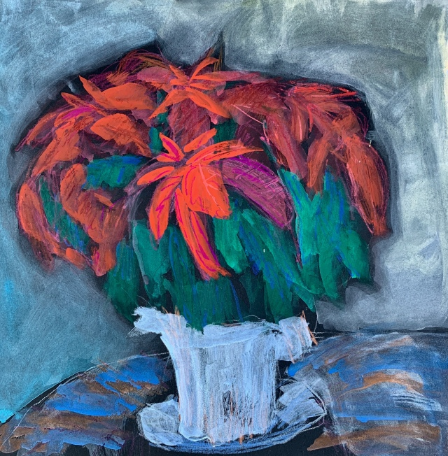 Sketch by Sarah Sullivan of a poinsettia