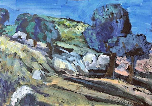 Sketch by Sarah Sullivan of a Hillside in Descanso California