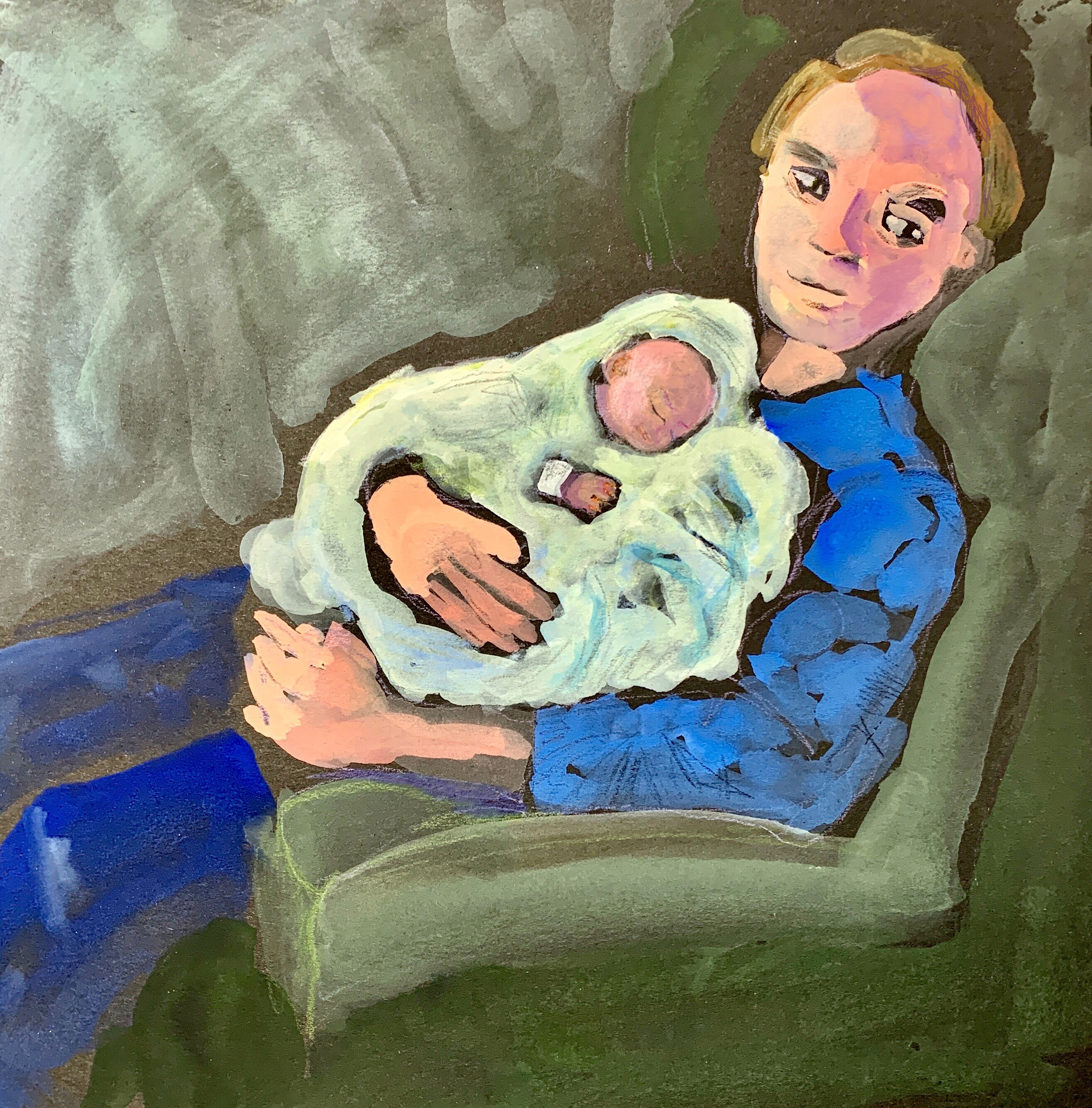 Sketch by Sarah Sullivan of a new father