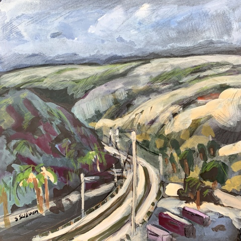 Sketch by Sarah Sullivan of the trolley tracks at San Diego State and the hills beyond.
