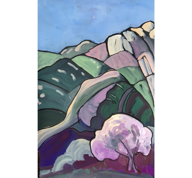 Gouache sketch of mountains above El Monte Park in San DIego area